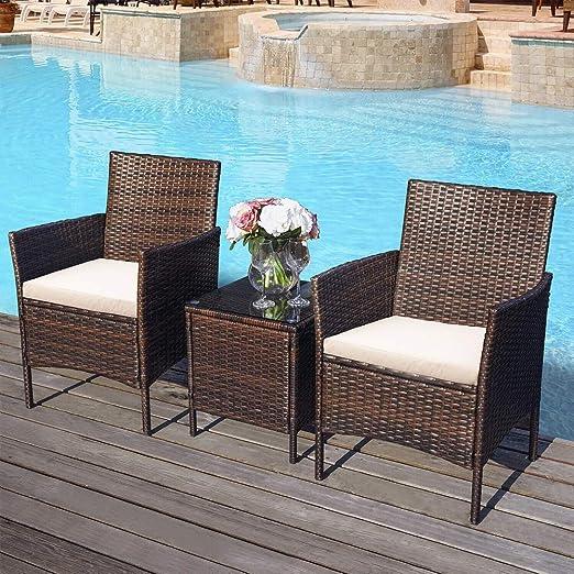 Huisen Furniture - Juego de 3 sillas y Mesa de ratán para ...
