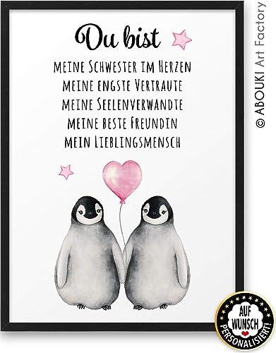 Pinguin Du Bist Meine Beste Freundin Abouki Kunstdruck Ungerahmt Auf Wunsch Personalisierte Geschenk Idee Geburtstag Weihnachten Freundschaft Für
