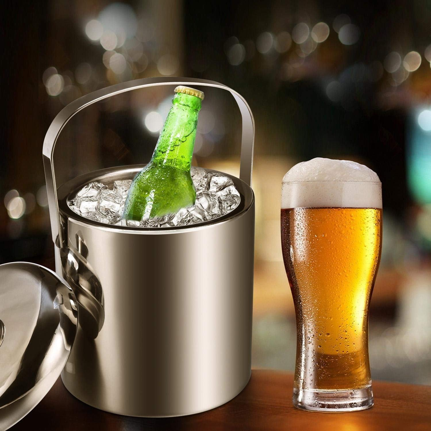 Ice Bucket, Small Ice Bucket with Lid, Tong and Handle for Parties, Bar,Gatherings and Events