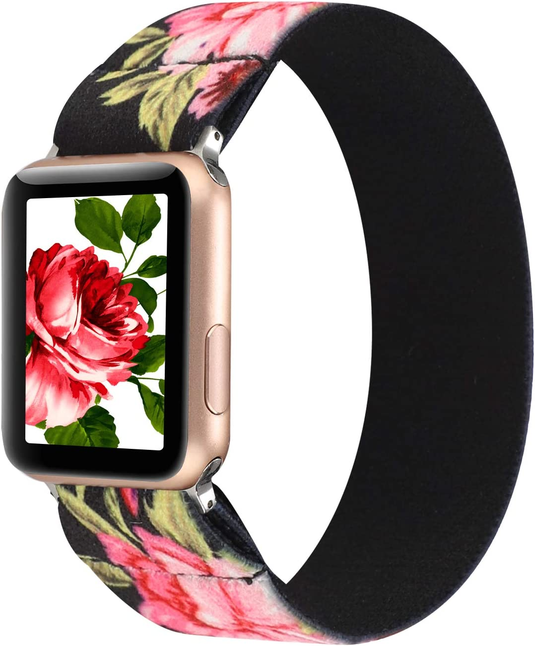 PENKEY Women Elastic Watch Band Compatible for Apple Watch 38mm 40mm 42mm 44mm,Stretchy Wristbands Replacement for IWatch Series 1 2 3 4 5 (Black Pink Flower, 38/40mm)