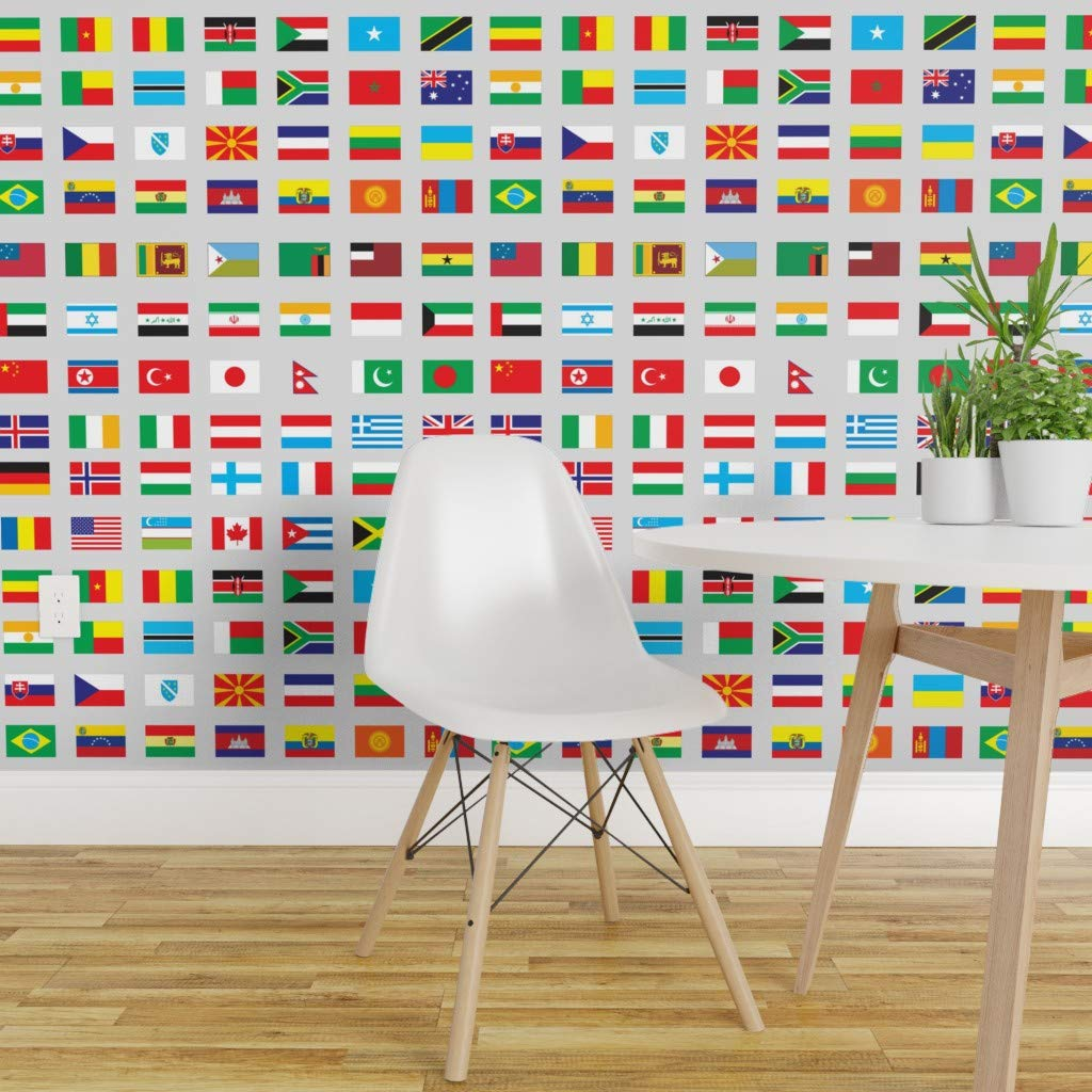 Spoonflower Non Pasted Wallpaper Flags Modern World Red