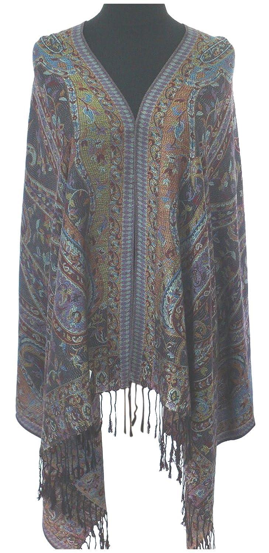 Bangong Disegno 2 Ply Reversibile Scialle di Pashmina Sciarpa Della Stola Dellinvolucro di Proiezione CJ Apparel NUOVO