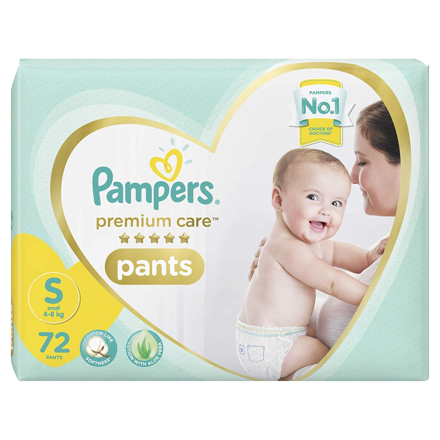 Pampers Premium Care Pants Diapers, Small, S 72 Count
