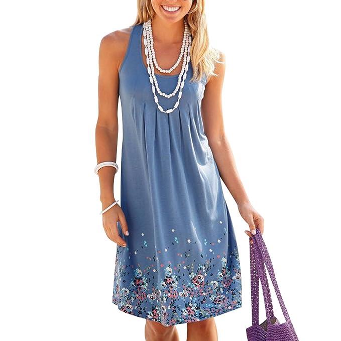 ISSHE Vestidos Sueltos Cortos Mini Vestido de Verano Casuales Mujer Vestidos Playeros Sencillos para Fiesta de