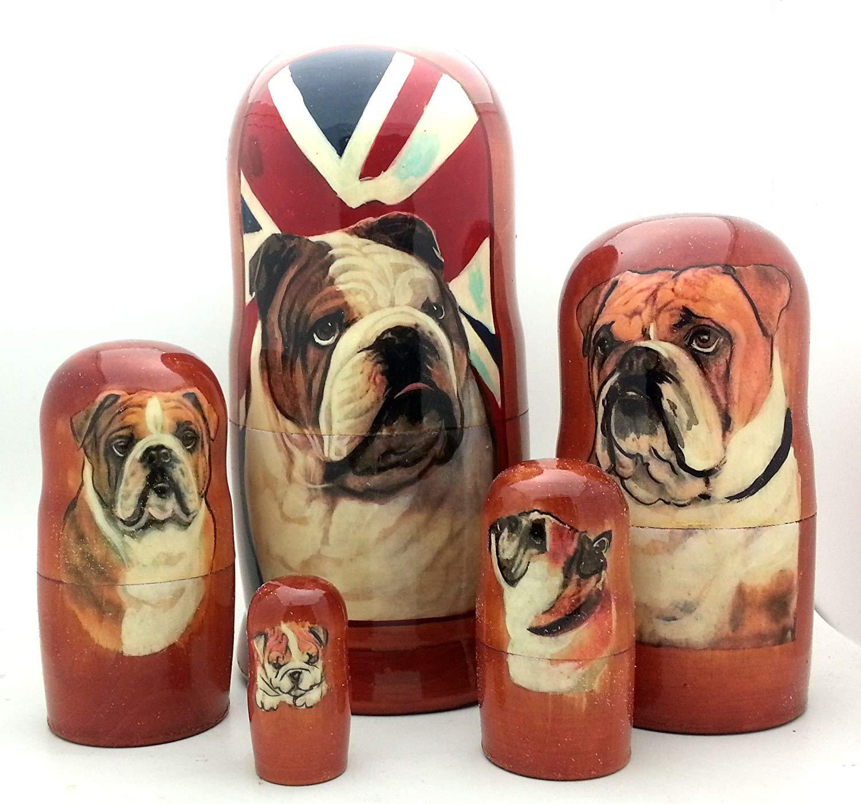 Dog English Bulldog Nesting Dolls Russian Hand Made 5 Piece Matryoshka Set 7'' H