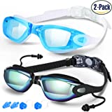 Amazon Price History for:Swim Goggles, Pack of 2, Swimming Goggles for Adult Men Women Youth Kids Child, Triathlon Equipment, with Mirrored & Clear Anti-Fog, Waterproof, UV 400 Protection Lenses, Made by COOLOO