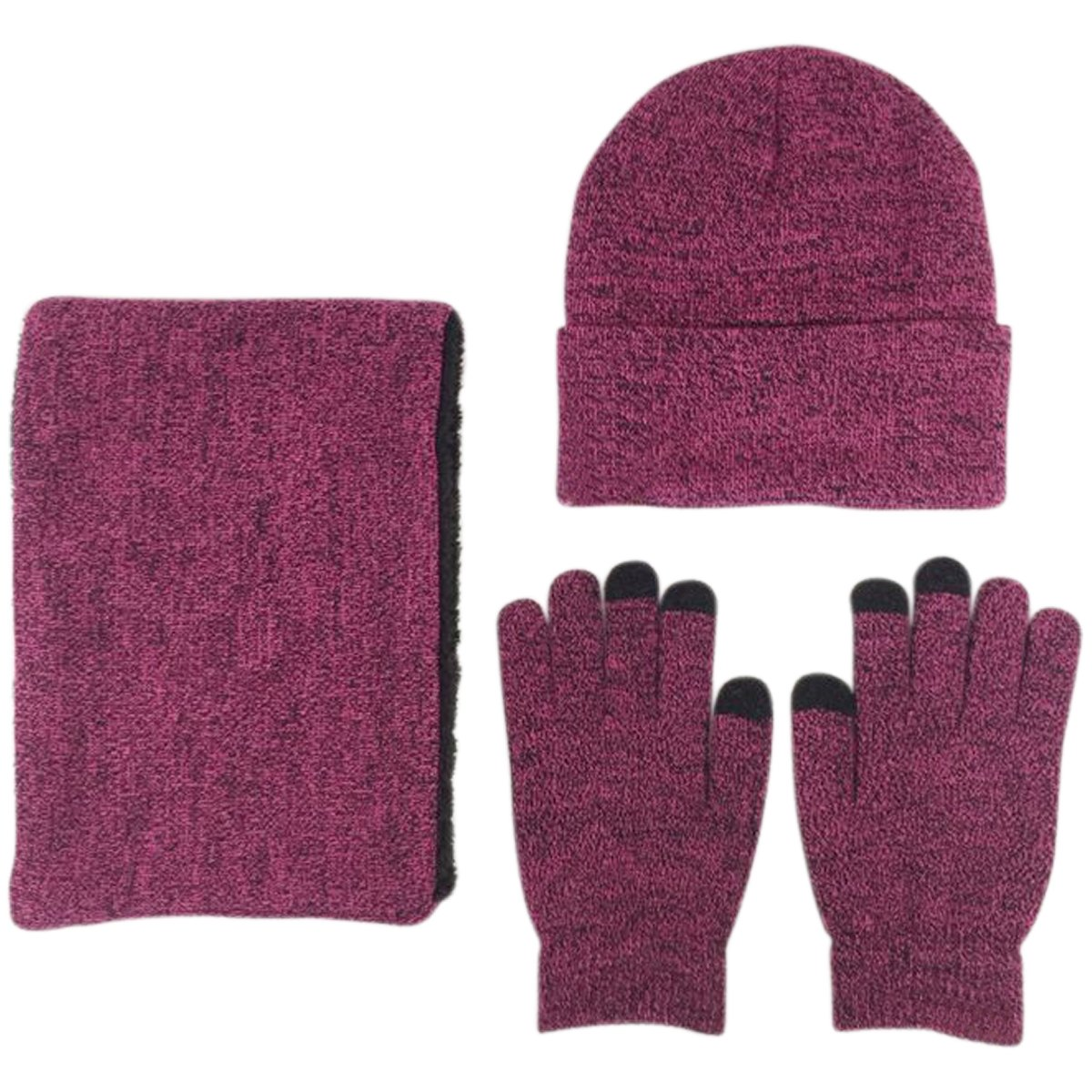 JOYEBUY Men 3 PCS Knitted Set Winter Warm Knit Hat + Scarf + Touch Screen Gloves (Rose)