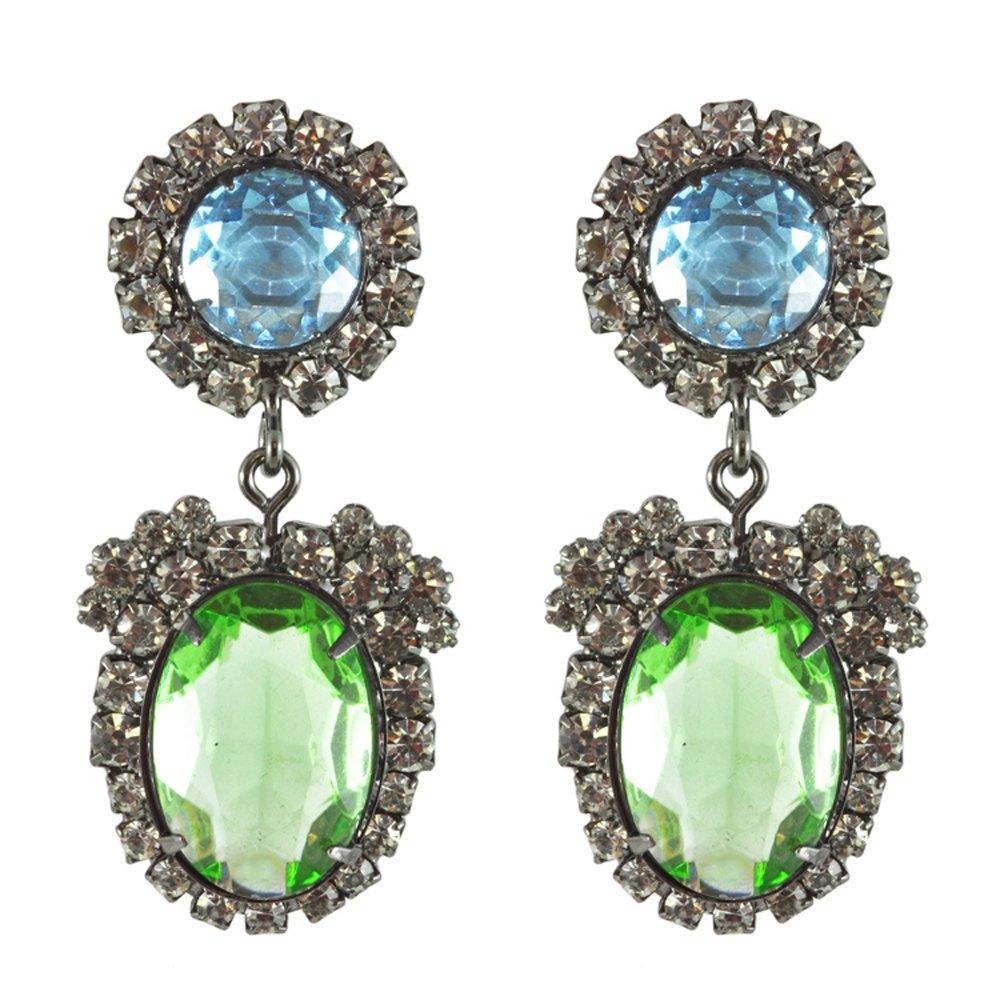 Kenneth Jay Lane Clip On Earrings Dangle Blue Bottom Green Top Gunmetal Crystal Setting