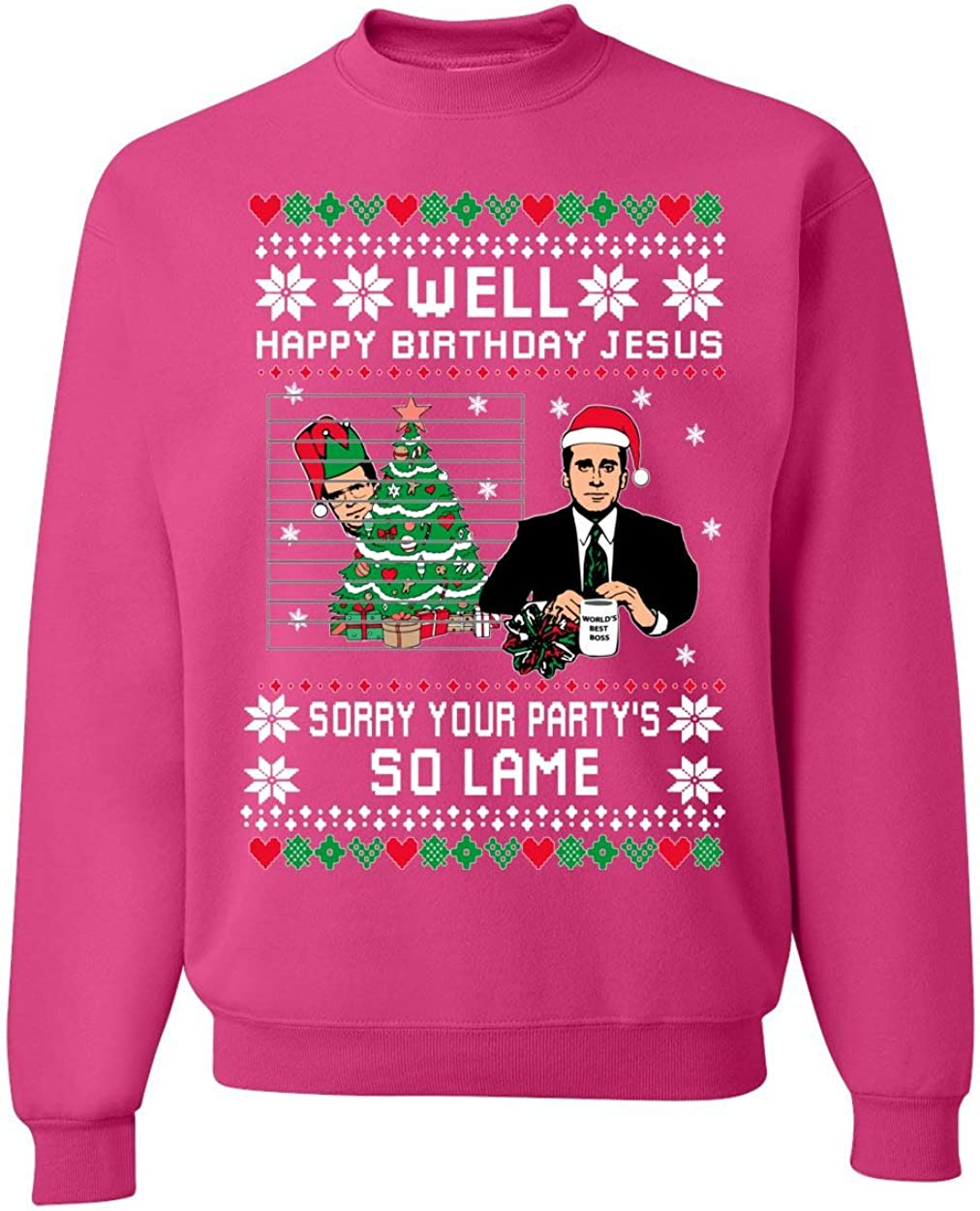 Well Happy Birthday Jesus Funny Quote Office   Unisex Ugly Christmas Sweater Crewneck Sweatshirt