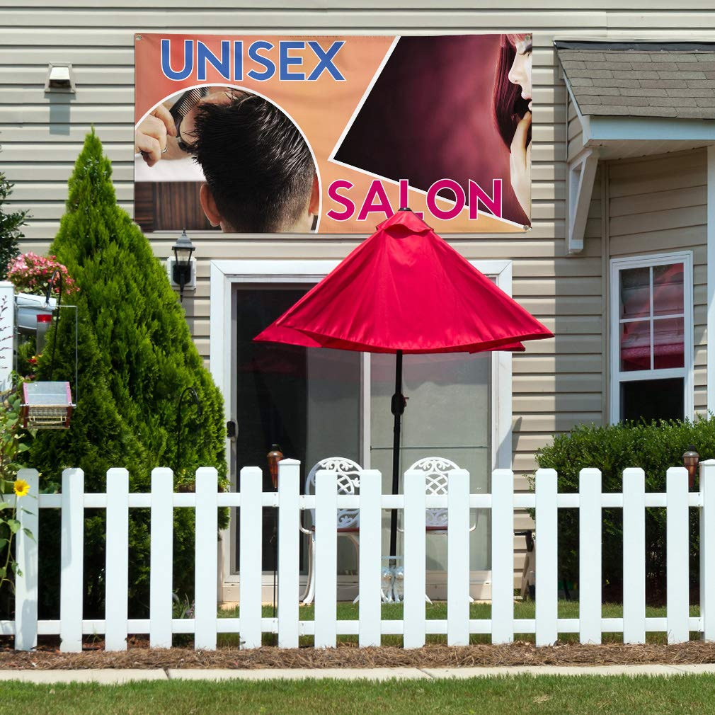 28inx70in Multiple Sizes Available 4 Grommets Set of 2 Vinyl Banner Sign Unisex Salon #2 Business Unisex Salon Marketing Advertising Orange