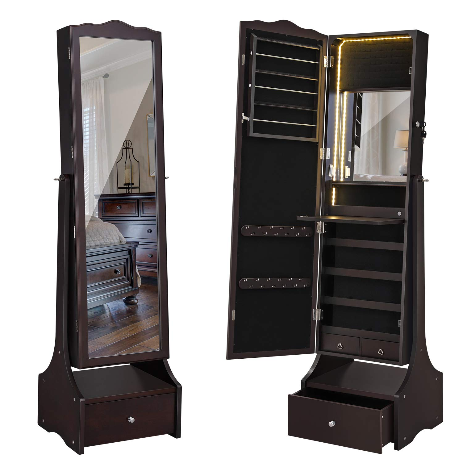 SONGMICS LED Jewelry Cabinet Lockable Jewelry Armoire with Full Length Mirror, Makeup Tray and Large Drawer Base Brown Patented Mother's Day Gift UJJC87BR by SONGMICS (Image #1)