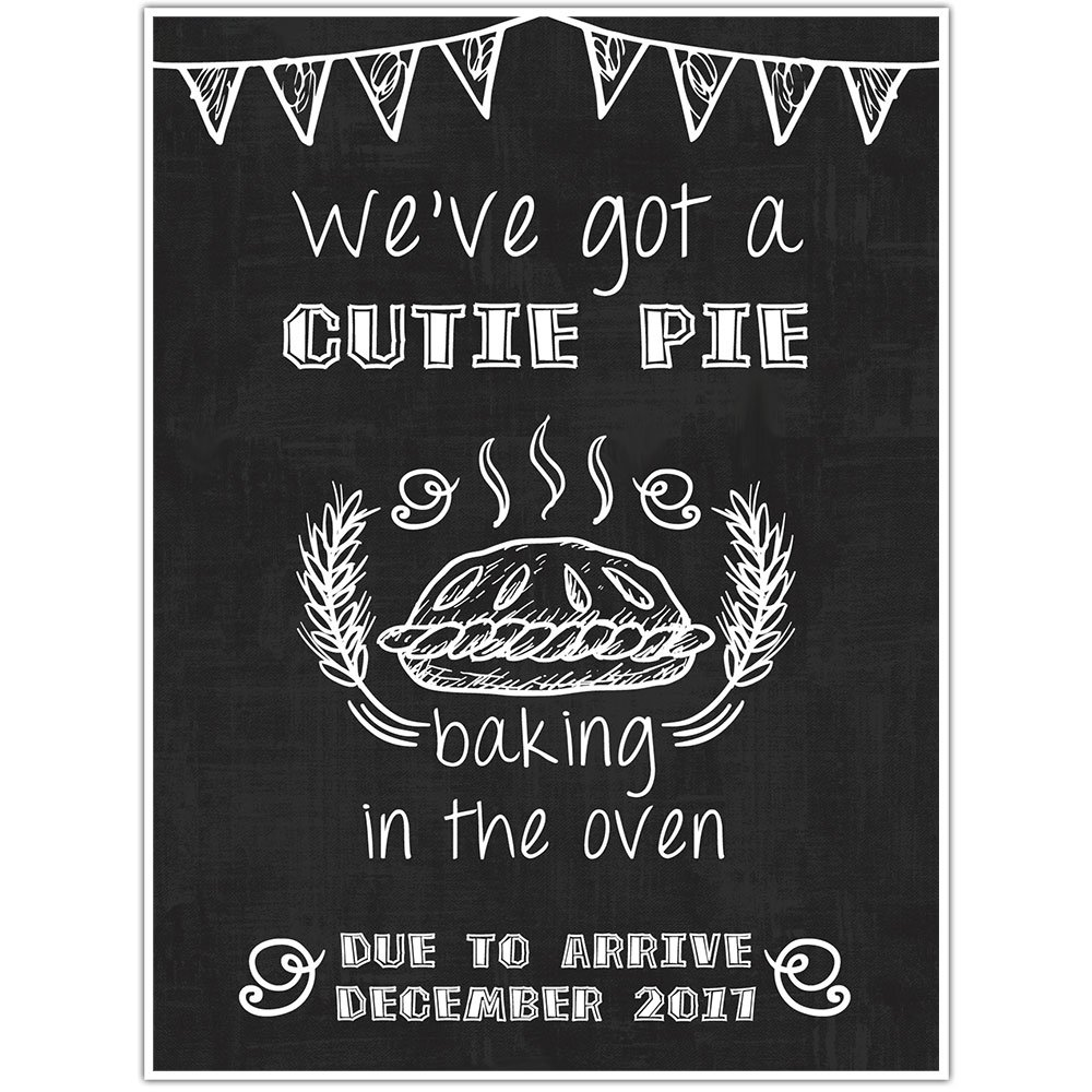 Bun in Oven Personalized Pregnancy Announcement Chalkboard Sign Photo Prop Poster- White