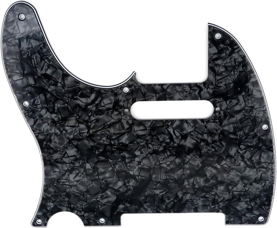 Musiclily 8 Agujeros Tele Pickguard Golpeador para Zurdos Fender American/México Standard Telecaster Estilo Moderno, 4 capas Black Pearl