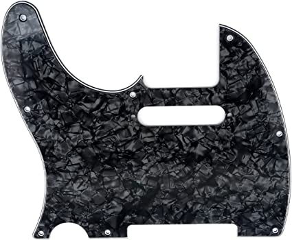 Musiclily Left Handed 8 Hole Guitar Tele Pickguard for American//Mexican Fender Telecaster Standard Modern Style 4Ply Black Pearl