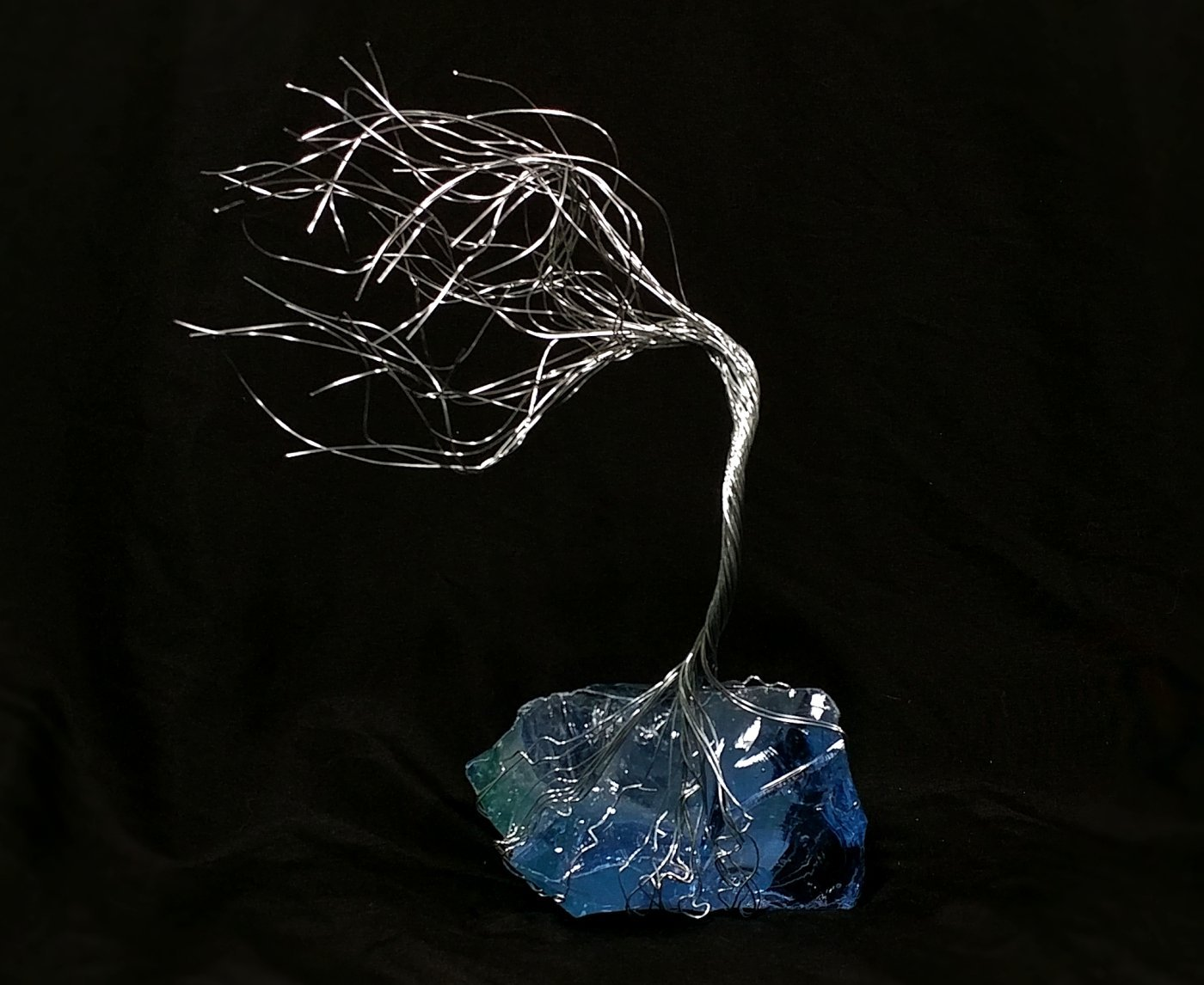 Ice Blue Glass & Wire Spirit Tree # 1314 Glass Art Sculpture 7th Anniversary Gift Steampunk Vintage Industrial Christmas Present by Refreshing Art