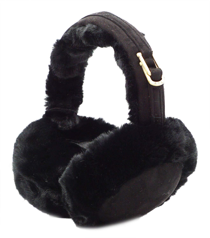Lovful Womens Girls Winter Warm Crocheted Knitted Faux Fur Plush Ear Warmers Earmuffs, Black