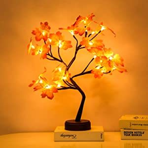 Artificial Bonsai Tree Lights - 108LED Table Decor Maple Leaves Tree Fairy Lamp, Battery/USB Operated, Lit Tree Centerpieces for Jewelry Holder,Christmas Festival Decoraction,Mini Night Light