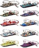 VEVESMUNDO Gafas de Lectura Mujer Hombre Compactas Portatiles Flores Presbicia Anteojos Para Leer con Colores Bolsillo 1.0 1.25 1.5 1.75 2.0 2.25 2.5 2.75 3.0 3.5 4.0