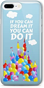 SmartGiftShop Cartoon Balloon Disney Quote Fan Art Clear Phone Cover Case for iPhone & Samsung iPhone 7/8 iPhone 7 Plus/8 Plus iPhone X/Disney Castle Quote