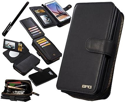 new arrival cab37 41f93 Urvoix Galaxy S6 Edge Plus Case, Premium Leather Zipper Wallet  Multi-functional Handbag Detachable Removable Magnetic Case with Flip Card  Holder Cover ...