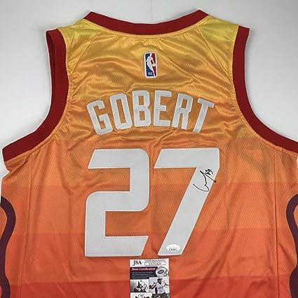 321e04cf3 Autographed Signed Rudy Gobert Utah Orange Basketball Jersey JSA COA ...