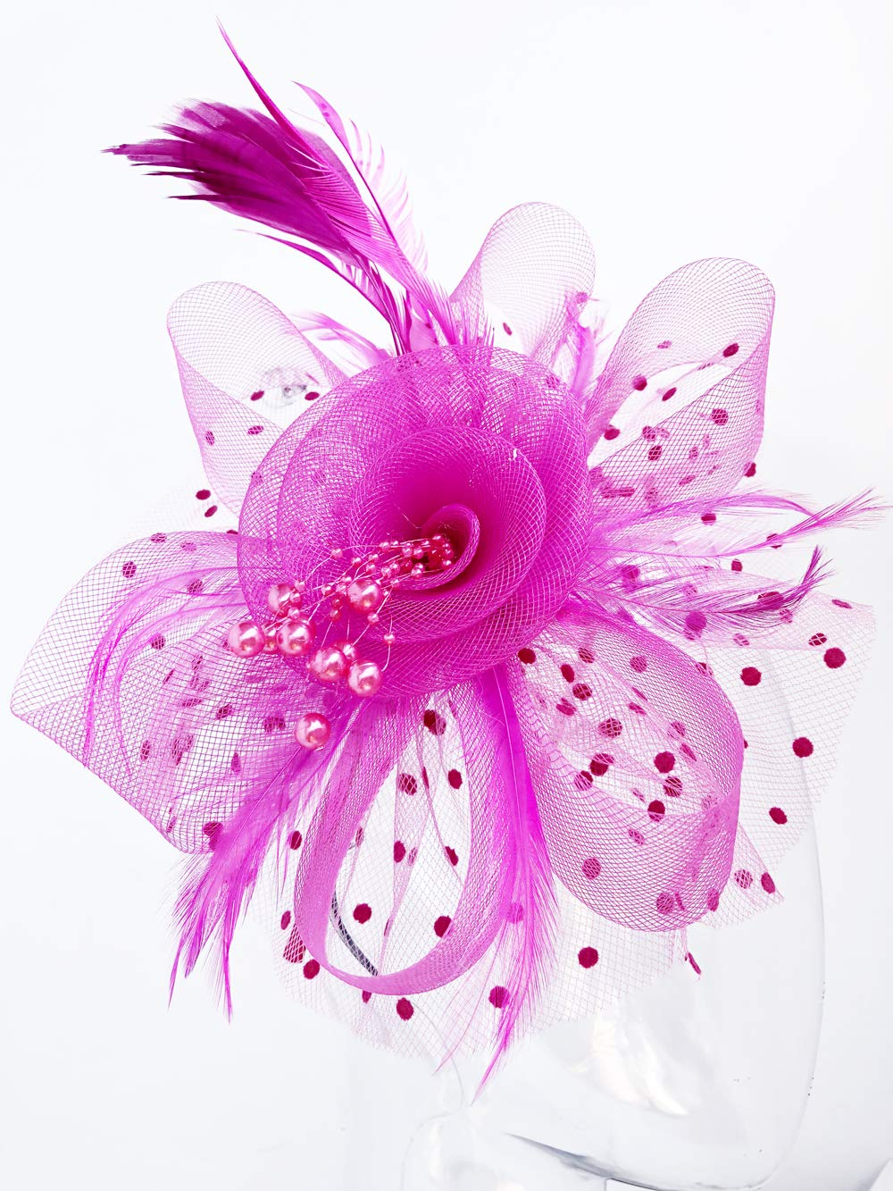 Flower Cocktail Tea Party Headwear Feather Fascinators Top Hat for Girls and Women (Fushia) by Kathyclassic (Image #4)