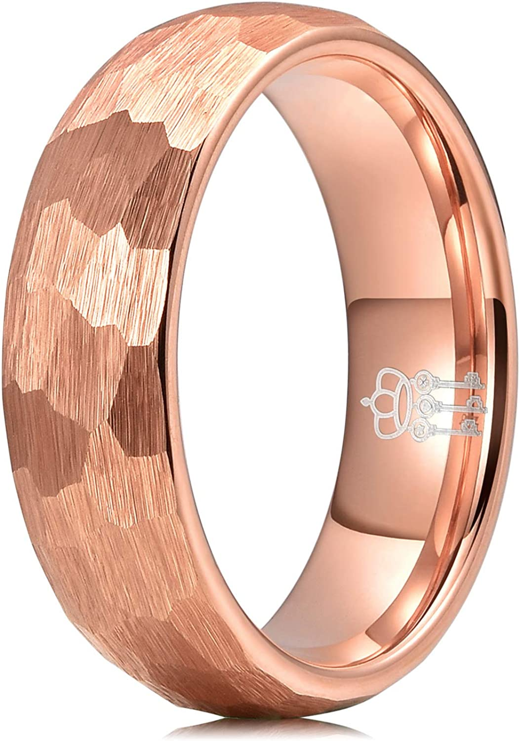 THREE KEYS JEWELRY Hammered Tungsten Wedding Rings 2mm 4mm 6mm 8mm Brushed Rose Gold Engagement Band