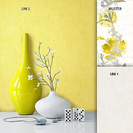 Premium Non Woven Wallpaper Yellow White Flowers