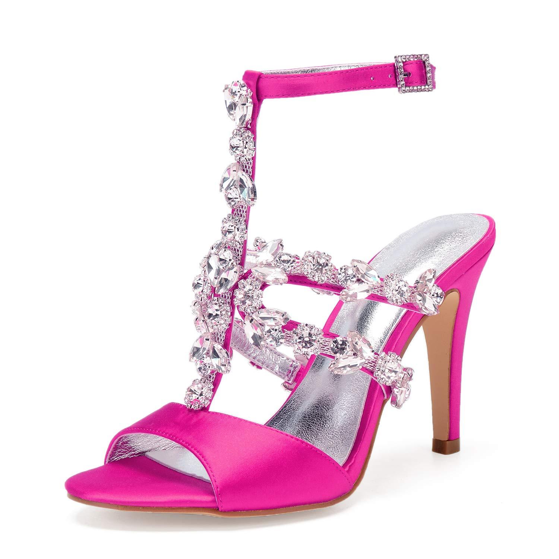 Rose rouge MEILIchaussures Femmes Satin Satin Printemps Eté Doux Chaussures De Mariage Talon Aiguille Peep Toe Strass Mousseux Glitter Party Robe De Soirée à Talons Hauts