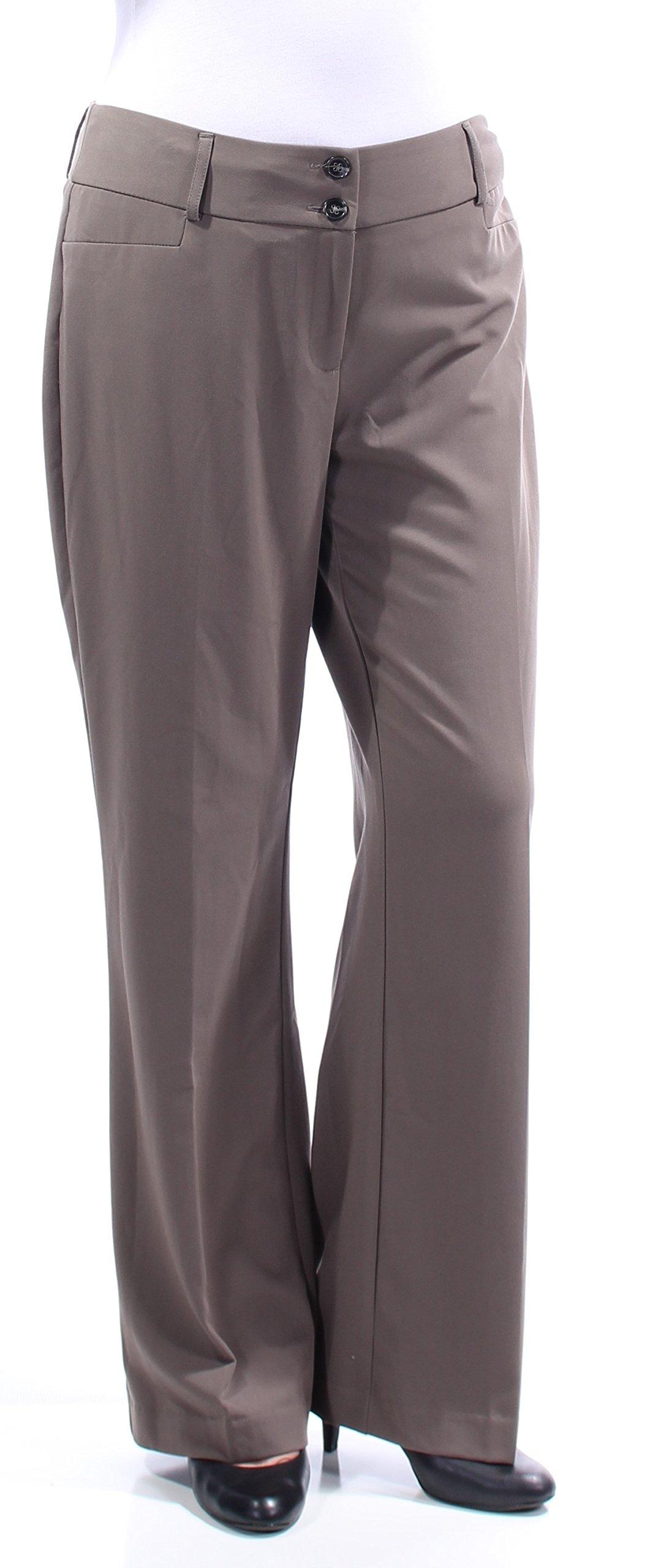 Alfani Womens Stretch Flat Front Dress Pants Beige 10