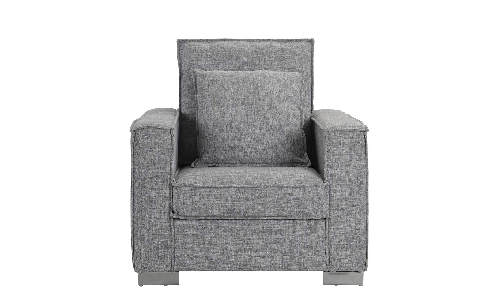 Living Room Large Linen Fabric Armchair, Living Room Accent Chair (Light Grey) - Club style chair with plenty of room for ultimate comfort and includes additional pillow. Upholstered in soft linen fabric with an exposed edge trim around frame and cushions. Low profile with a square shape and wide track arm rests, and features chrome L shape legs. - living-room-furniture, living-room, accent-chairs - 71vPo6KiFBL -