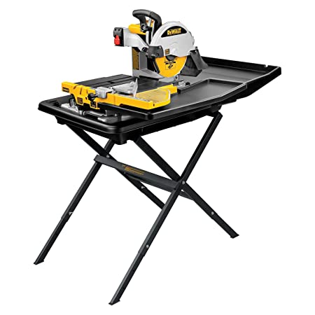 3. DEWALT D24000S Heavy-Duty 10-inch Wet Tile Saw with Stand