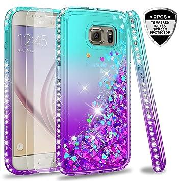 LeYi Compatible with Funda Samsung Galaxy S6 Silicona Purpurina Carcasa con [2-Unidades Cristal Vidrio Templado],Transparente Cristal Bumper Telefono ...