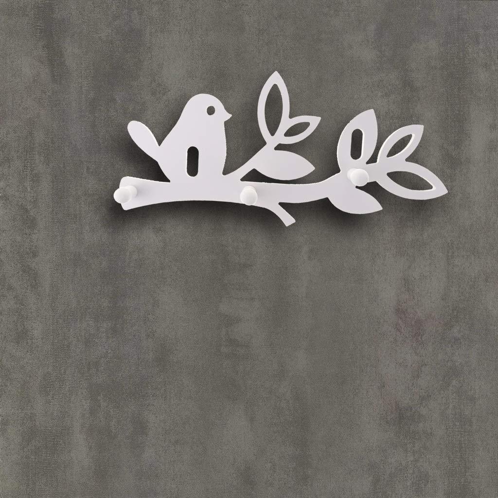 CHUNJIANGSHUI Carved Birds Design Wall Hanging 3-hook Coat Hooks Keys Hook Towel Rack Hanger Decor Shelf