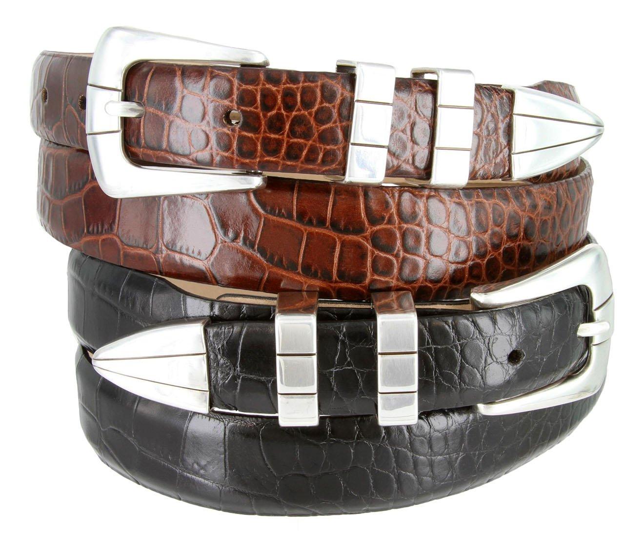 Vince Italian Calfskin Leather Designer Golf Dress Belt for Men (46, Alligator Black) by Belts.com (Image #2)