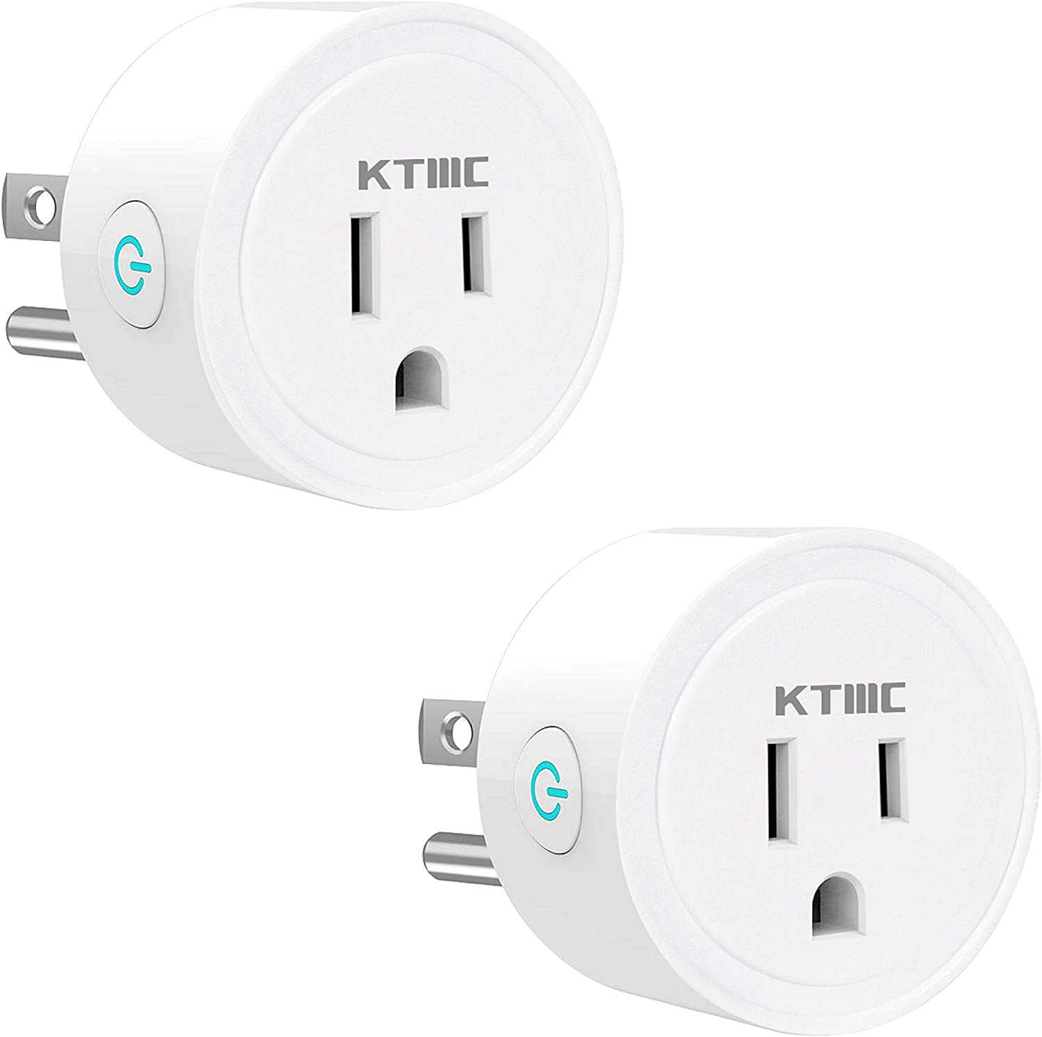 KTMC Smart Plug 2 Packs,Mini WiFi Smart Socket,Timer Outlet,Work with Amazon Alexa and Google Assistant, No Hub Required, Remote Control Your Devices from Anywhere, ETL Listed