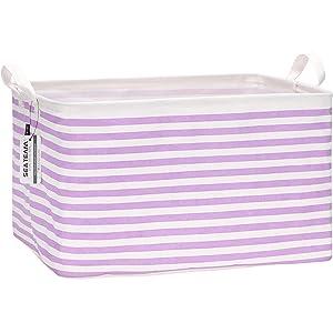 Sea Team 16.5 x 11.8 x 9.8 inches Square Canvas Fabric Storage Bins Shelves Storage Baskets Organizers for Nursery & Kid's Room, Purple Stripe