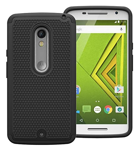 online store d01ad dfd6f Cool Mango Moto X Play Armor Cover – Dual Layer Shock Proof Case for Moto X  Play (Black)