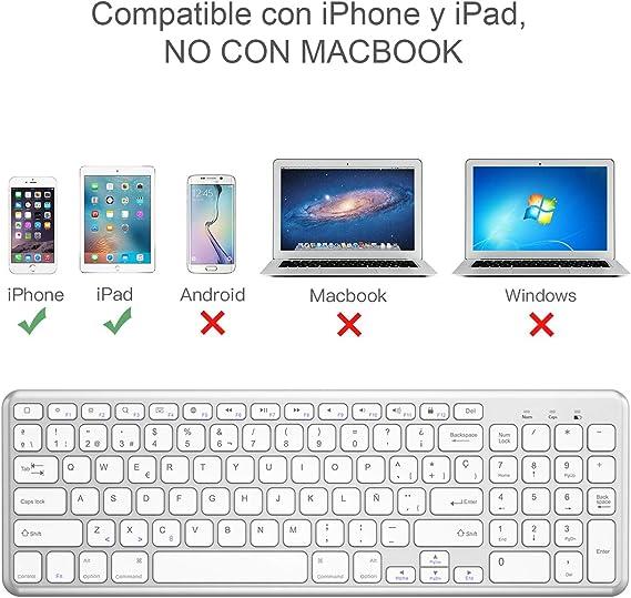 OMOTON Teclado Bluetooth, Teclado Inalámbrico Compatible con iPad 10.2/iPad Air/iPad Mini/iPad Pro y iPhone, Teclado de Todas Sistemas de iOS, Teclado ...