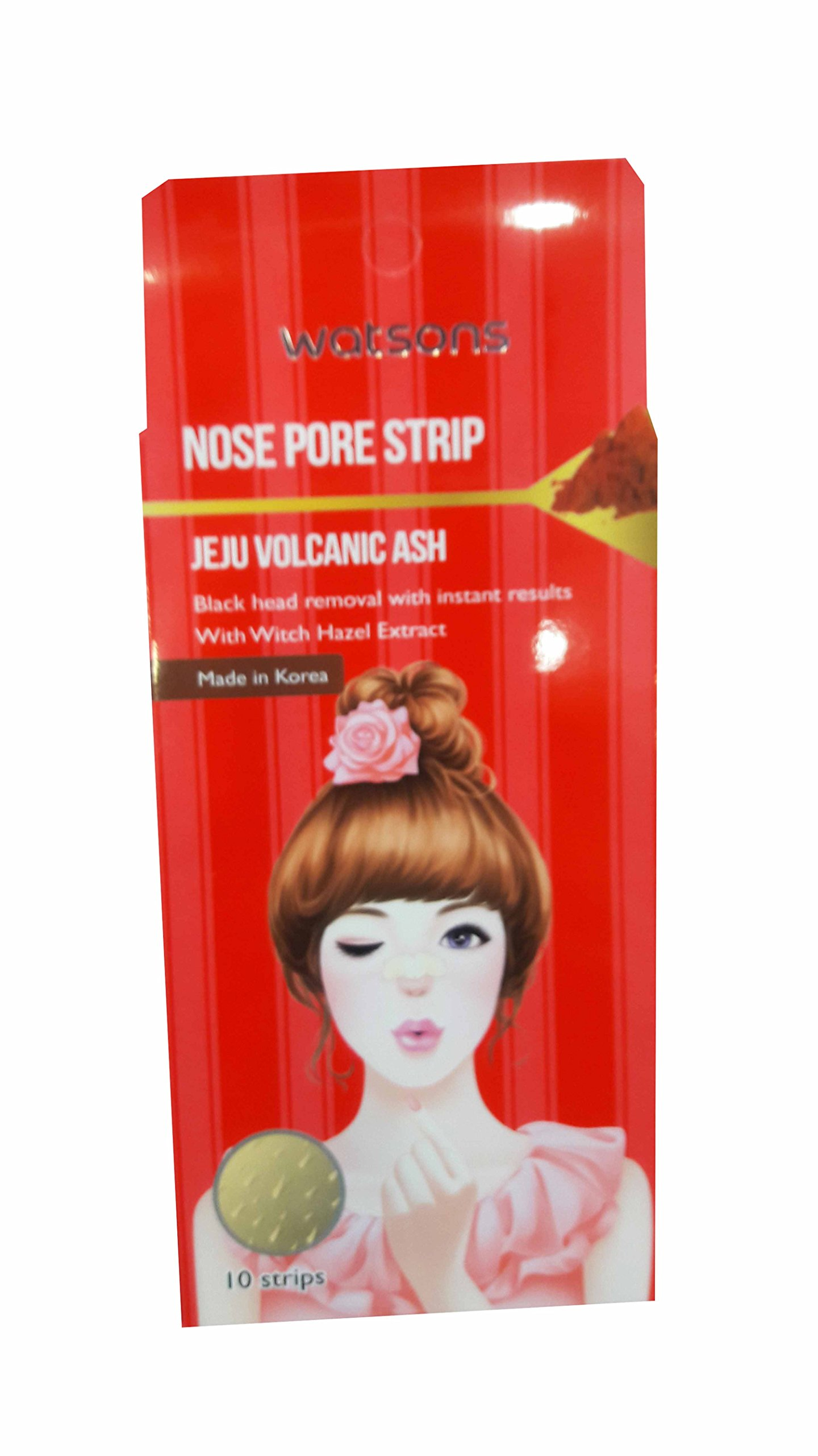 4 Packs of Watsons Jeju Volcanic Ash Nose Pore Strips with Witch Hazel Extract. (10 Strips/Pack)