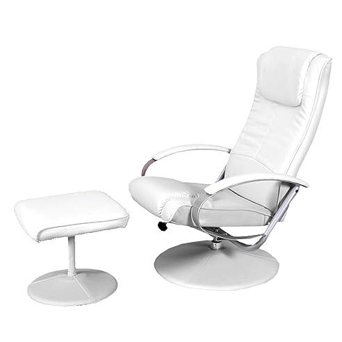 Relaxsessel garten weiß  Relaxliege Relaxsessel Fernsehsessel N44 mit Hocker ~ weiß: Amazon ...