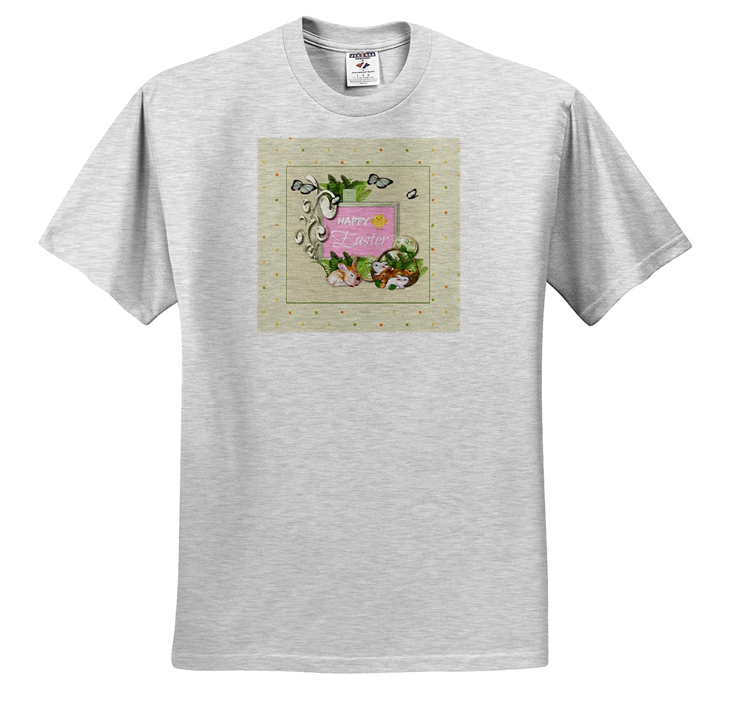 Baskets and Butterfly Eggs Happy Easter Ferns T-Shirts Bunnies 3dRose Beverly Turner Easter Design and Photography