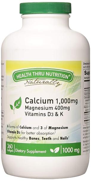 Amazon.com: 1000 mg de calcio y magnesio 400 mg con Vitamina ...