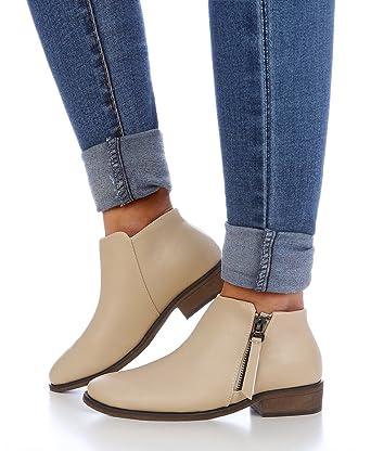 Women's Western Side Zip Stacked Heel Ankle Bootie