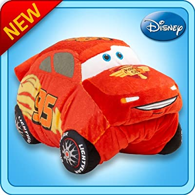 "Pillow Pets Disney Pixar Cars 2 18"" Lightning McQueen Folding Stuffed Plush Toy: Home & Kitchen"