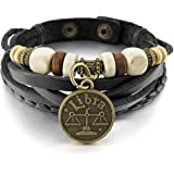 MunkiMix Alliage Genuine Leather Véritable Bracelet Bracelet Menotte Noir Or Ton Horoscope Signe astrologique Zodiaque Zodiac Boule Perle Réglable Homme,Femme