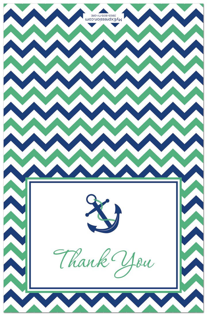 50 Nautical Thank You Cards Green Navy