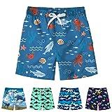 Freshhoodies Kids Boys Swim Trunks with Mesh Lining 3D Cute Pattern Print Beach Shorts Tropical Vacation Swim Shorts