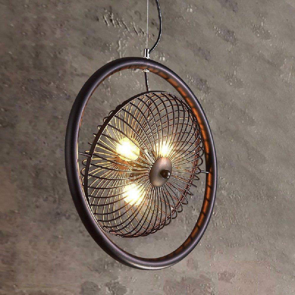 HQLCX Chandelier Retro Industrial Wind Nordic Chandelier American Bar Study Loft Iron Fan Chandelier 40Cm