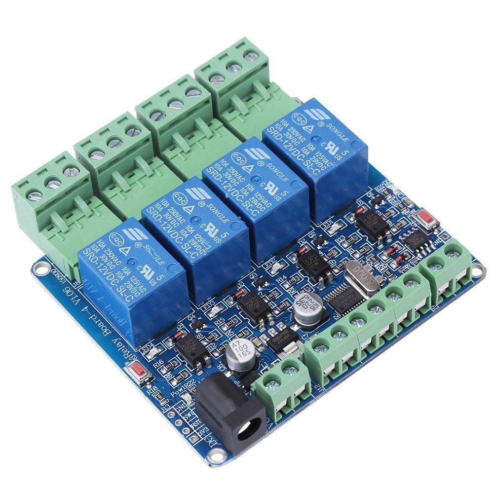 Hilitand 1 pc DC 12 V RS485 4 Canal Relay Module Relais Carte Microcontr/ôleur Communication avec Optocoupleur Protection STM8S103F3